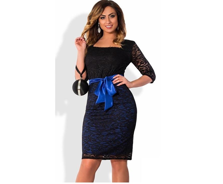 Кружевное платье с синим поясом размеры от 48 ПБ-117