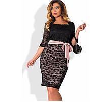 Мереживна сукня з бежевим поясом розміри від 48 ПБ-118