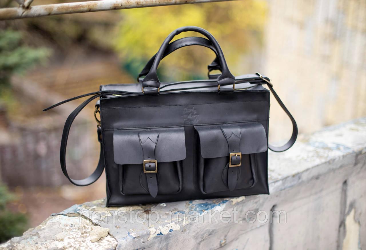 df1f5e11fccc Мужская кожаная сумка ручной работы EveryDay Black, Sharky Friends -  Nonstop-Market в Днепре