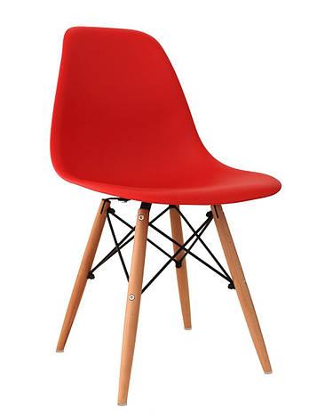 Стул  обеденный пластиковый на буковых ножках 8056PP ENZO (Энзо)  Evrodim, цвет красный, фото 2