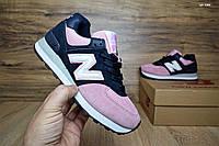 Кроссовки стильные женские New Balance 574 темно-синие/розовый носок