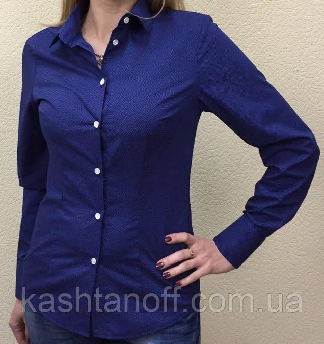 Женская блуза синяя в белый мелкий горошек