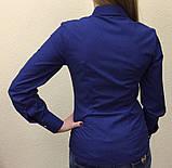 Женская блуза синяя в белый мелкий горошек, фото 3