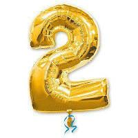 Шар цифра 2 золото фольгированный 35 см