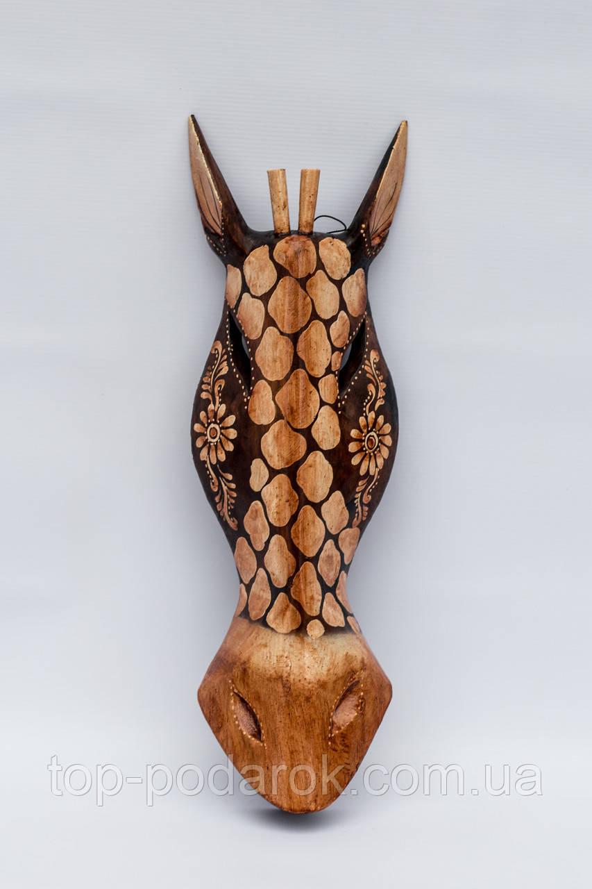 Маска настенная деревянная Жираф высота 50 см