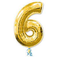 Шар цифра 6 золото фольгированный 35 см