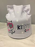Детская шапка с кошкой для девочки