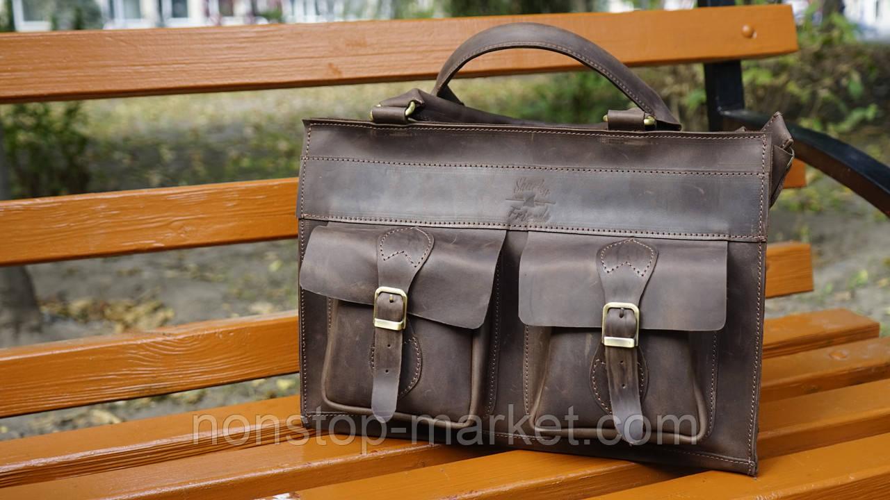 23653569b412 Мужская кожаная сумка ручной работы EveryDay 15.6, Sharky Friends -  Nonstop-Market в Днепре