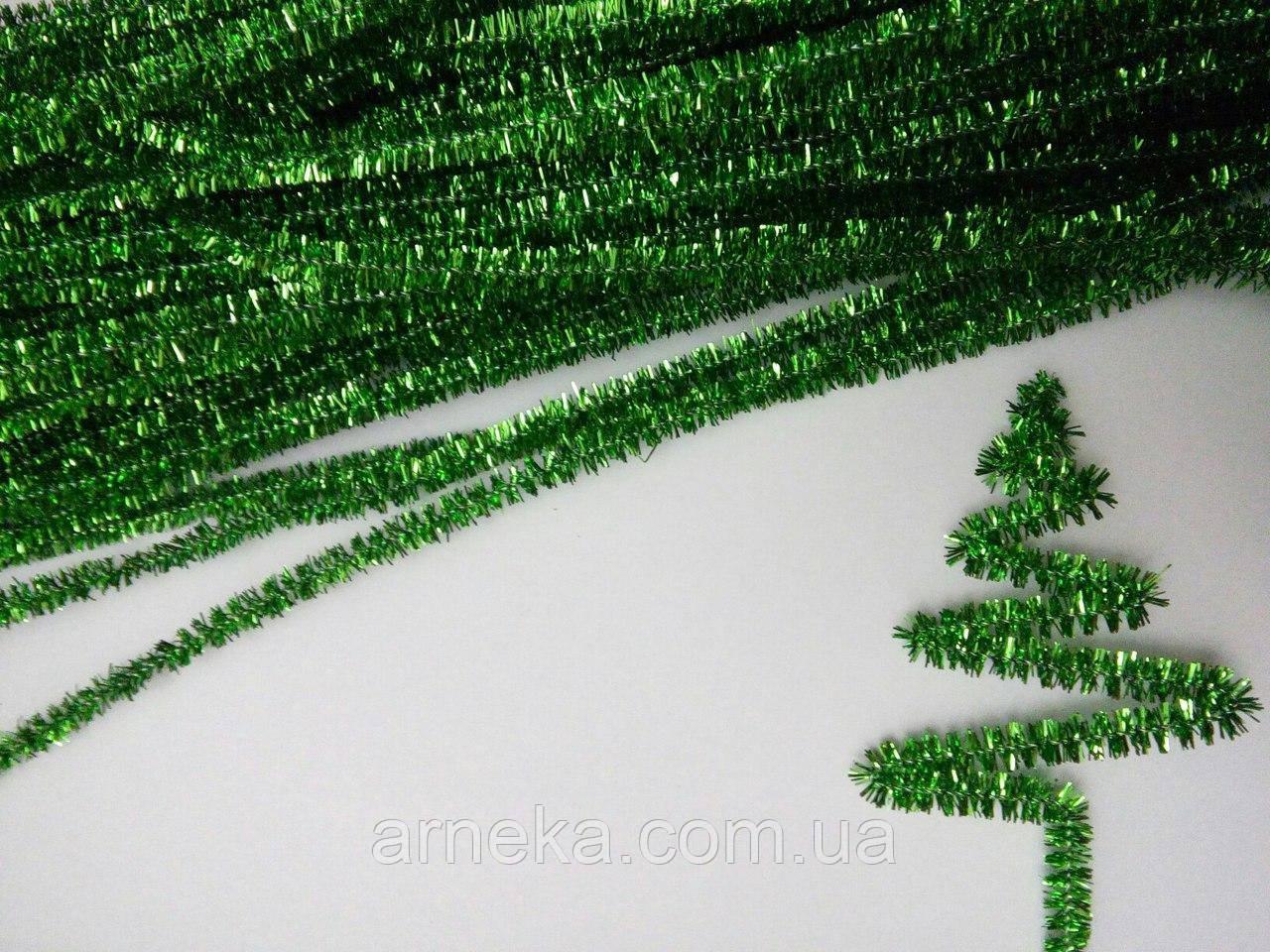 Проволока синельная люрекс (30 см) зеленая