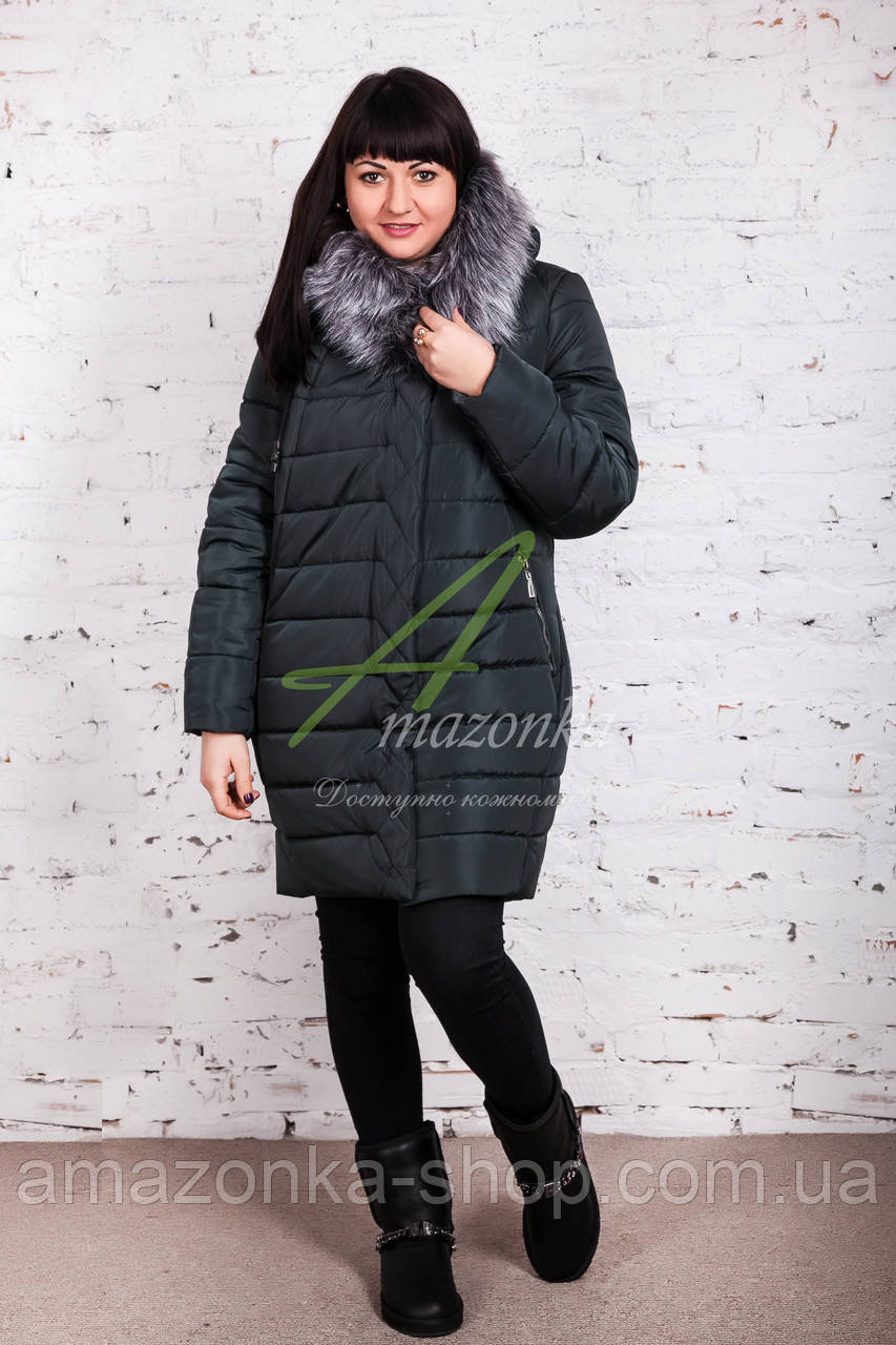 Зимнее женское пальто больших размеров 2017-2018 - (модель кт-245)