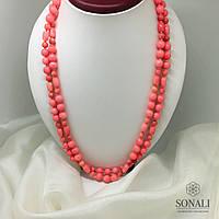 Длинные бусы из розового коралла 120 см