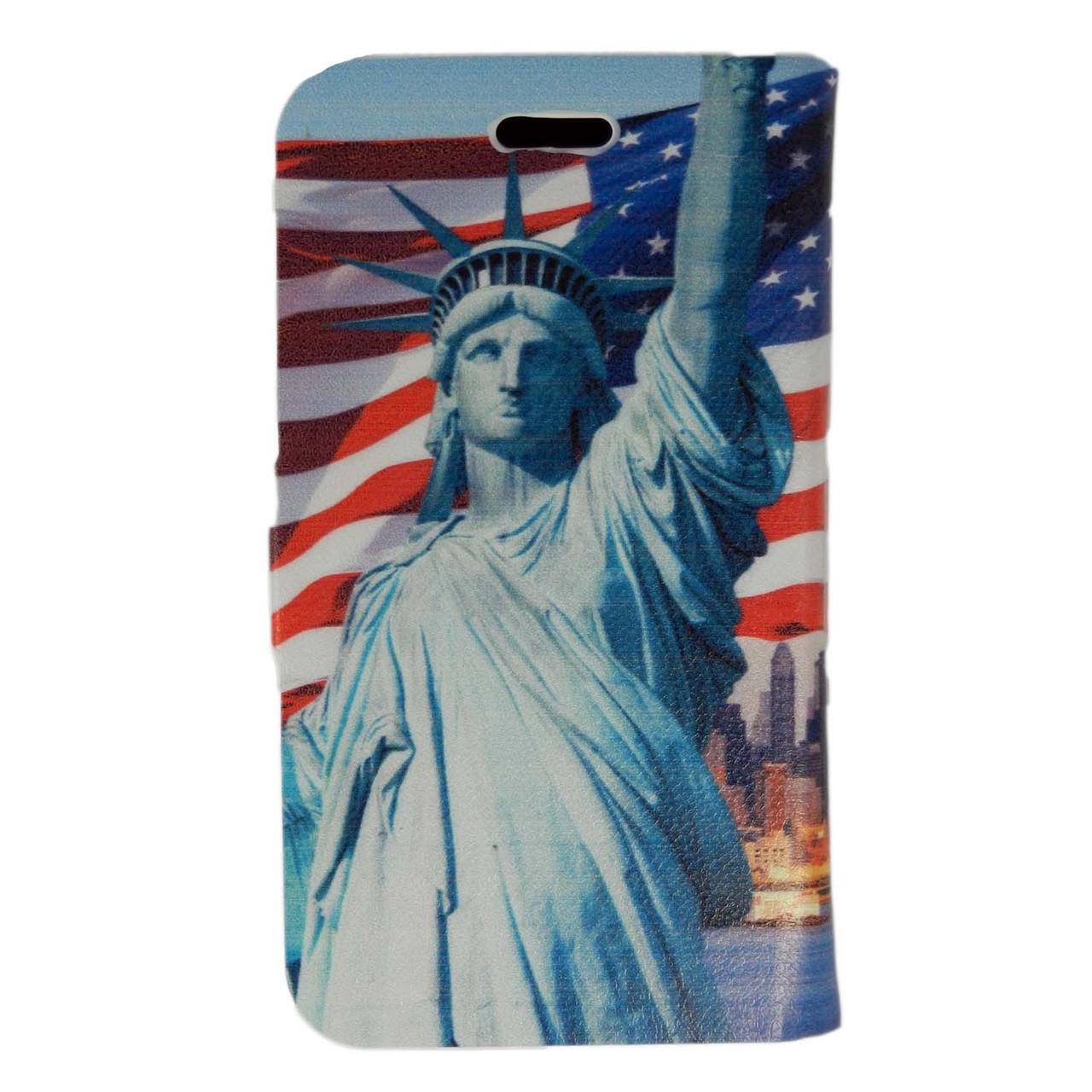 Чехол книжка для Samsung Galaxy S 3 III I9300 боковой Double Case, Эйфелева башня и Статуя Свободы