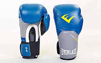 Рукавички боксерські шкіряні на липучці ELAST PRO STYLE ELITE BO-5228-B(10) розмір 10 oz синій-сірий