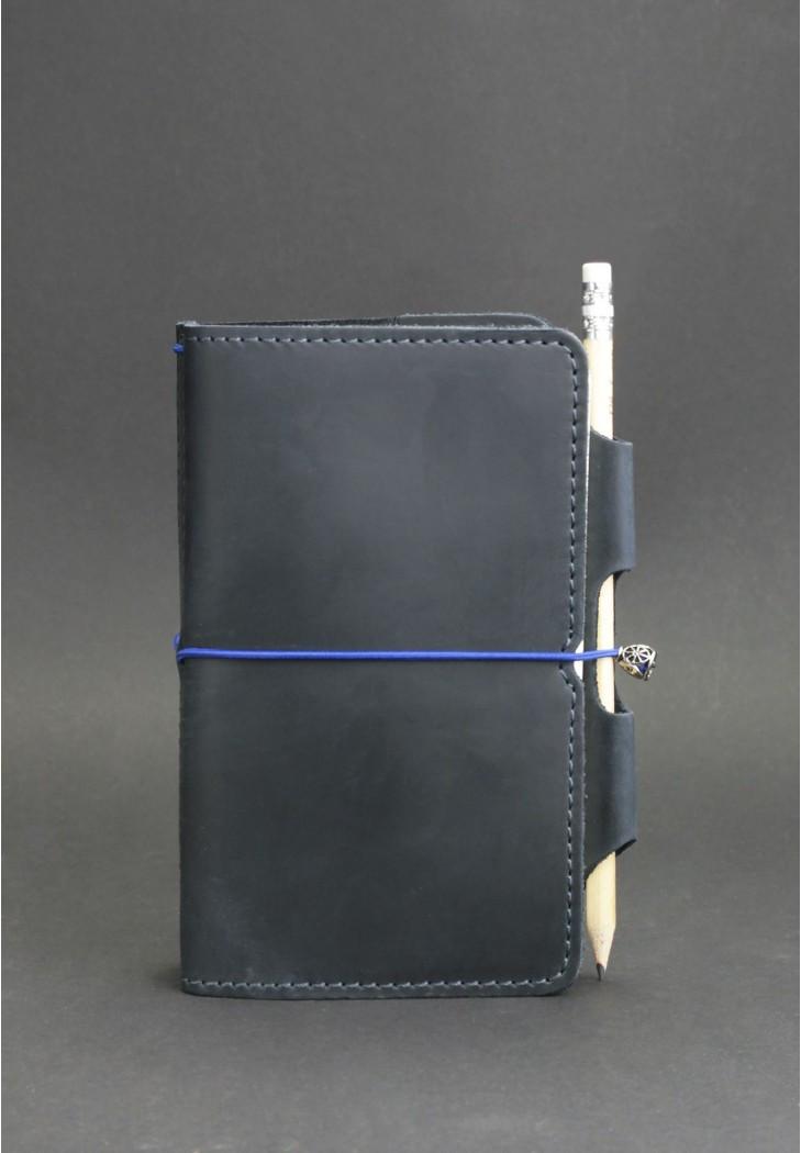 Блокнот кожаный, софт-бук синий (ручная работа) BN-SB-3-mi-nn