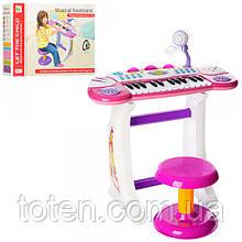 Детское пианино-синтезатор BB33 на ножках со стульчиком Розовый 11