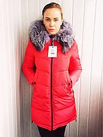 Зимний пуховик с чернобуркой на капюшоне Visdeer