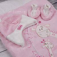 "Конверт - плед ""Два жирафа"" розового цвета"