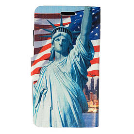 Чехол книжка для Samsung Galaxy Grand 2 Duos G7102 боковой Double Case, Эйфелева башня и Статуя Свободы