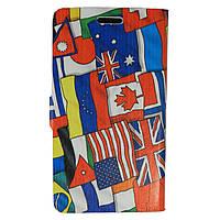 Чехол книжка для Samsung Galaxy Grand 2 Duos G7102, G7100, G7105 боковой Double Case, Флаг Британии и Миньон