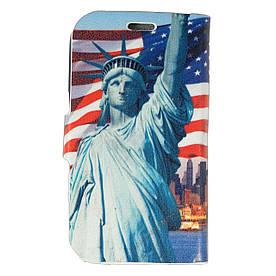 Чехол книжка для Samsung G350E Galaxy Star Advance боковой Double Case, Эйфелева башня и Статуя Свободы