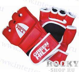 Перчатки для боевого самбо исскуственная кожа р.M красный GREEN HILL