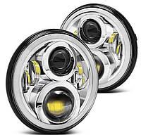 Светодиодные фары 7 дюймов с ангельскими глазками и поворотами (светлые) (2101, Нива, Jeep, Toyota)