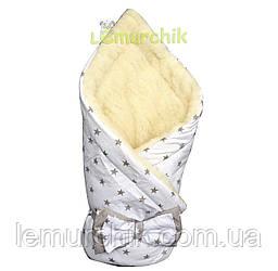 """Конверт-одеяло для новорожденных на выписку и в коляску на меху """"Звездочка"""" белый"""