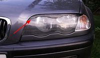 Накладка на фары, реснички с вырезом на BMW E46, ABS-пластик