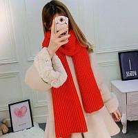 Модный женский теплый вязанный шарф красного цвета