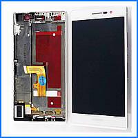 Дисплей (экран) для Huawei P7-L10 Ascend с тачскрином в сборе, цвет белый, с передней панелью