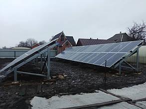 установка оцинкованных столов наземной конструкции солнечных панелей