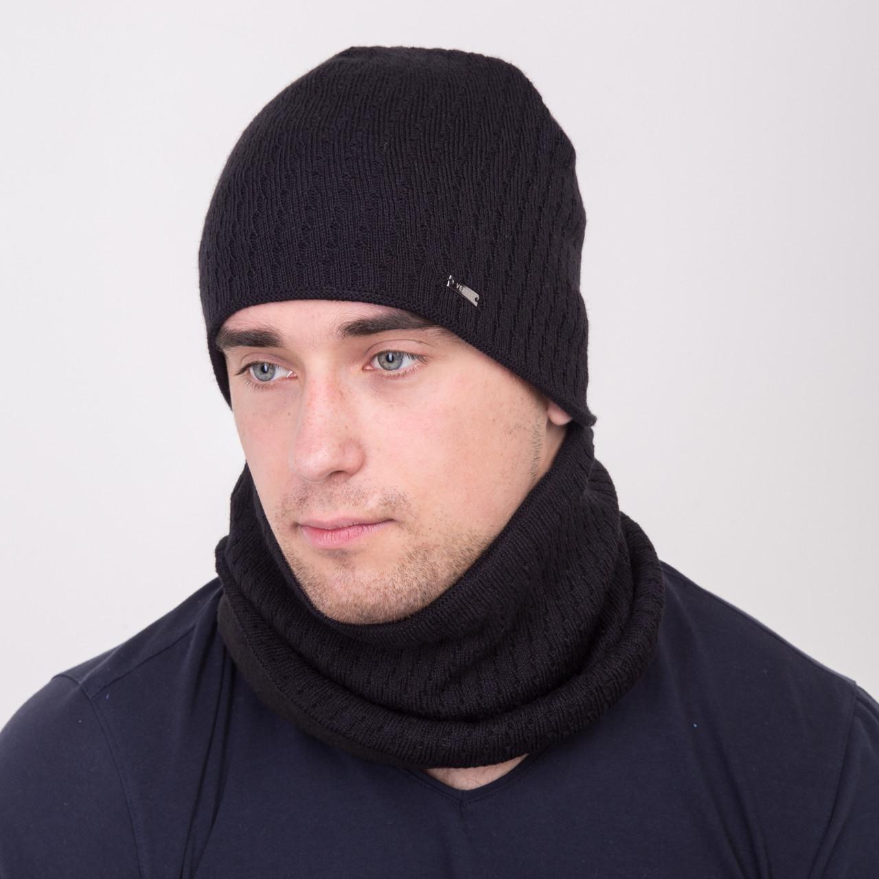Вязанный мужской комплект на зиму (шапка и хомут) - Артикул 2164 (черный)