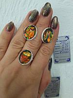 Комплект украшений из серебра с золотом - камень опал, янтарь, оникс