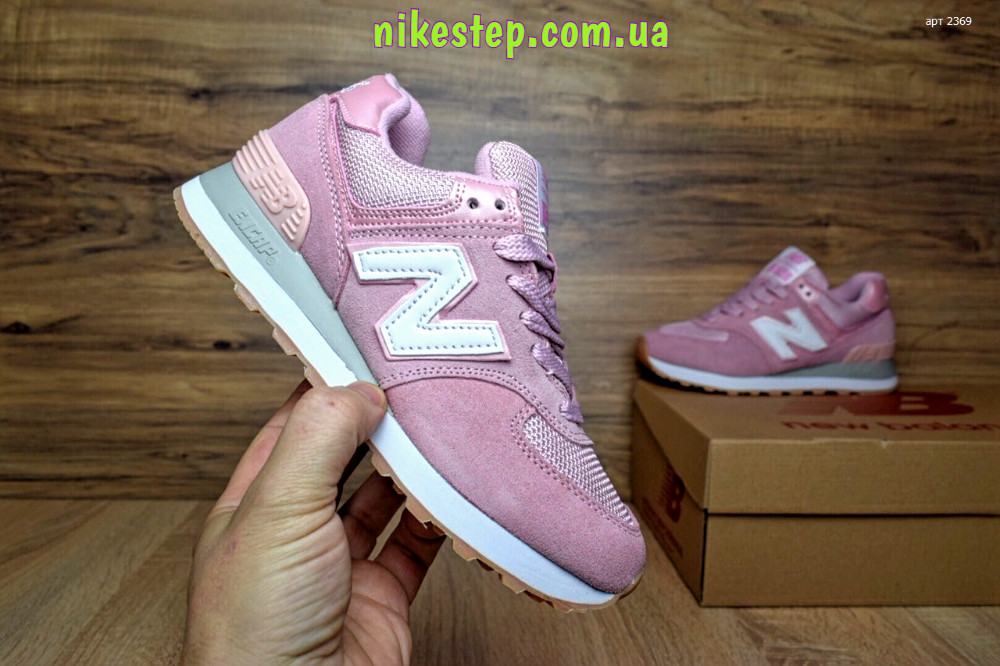 Женские+подростковые кроссовки New Balance 574 замша ярко розовые реплика + живые  фото - nikestep 6ffb14050104d
