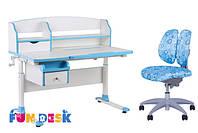 Парта-трансформер для дома FunDesk Sognare Blue + детское кресло SST9 Blue