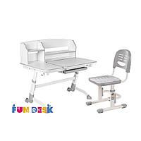 Парта для школьника для дома FunDesk Amare II Grey + Детский стул SST3 Grey