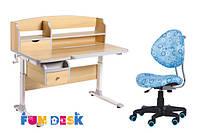 Стол-трансформер для школы FunDesk Sognare Grey + детское кресло SST5 Blue