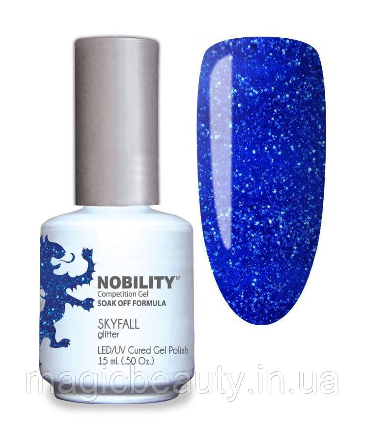 Гель-лак Lechat Nobility 132  Skyfall - синий электрик, глиттер, 15 мл