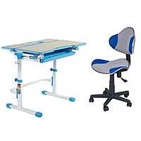 Комплект Растущая парта FunDesk Lavoro L Blue + Детское компьютерное кресло LST3 Blue-Grey