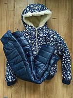 Детский зимний костюм на меху овчинке для девочки  , фото 1
