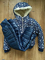Детский зимний костюм на меху овчинке для девочки