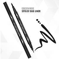Подводка-фломастер для глаз Golden Rose Stylist Duo Liner Eyeliner Pen 2в1