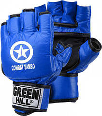 Перчатки для боевого самбо исскуственная кожа р.M синий GREEN HILL