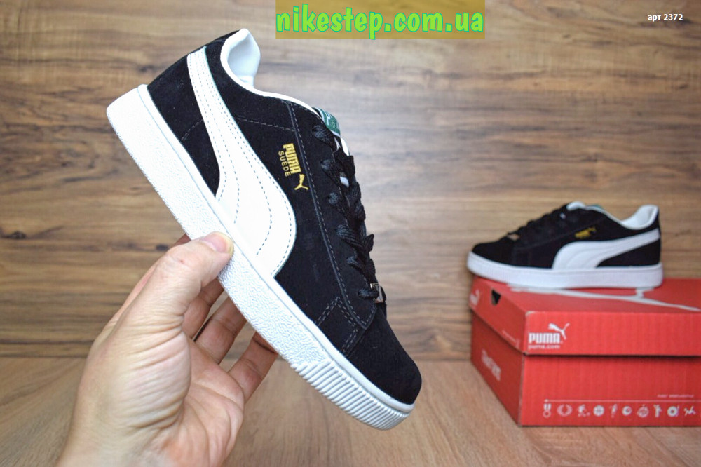 Подростковые+женские кроссовки Puma Suede велюр черные с белым реплика +  живые фото f8aa2d42e6128