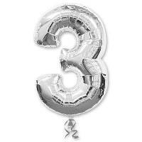 Шар цифра 3 серебро фольгированный 35 см