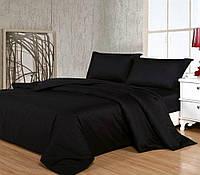 Комплект постельного белья Сатин однотонный BLACK (Чёрный) (Двуспальный)