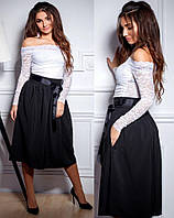 Романтичная юбка миди с поясом и карманами батал