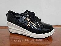 Ботинки-сникерсы женские черные р(36-41)
