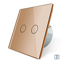 Сенсорный выключатель для штор, ворот, жалюзи Livolo, цвет золото, стекло (VL-C702W-13)