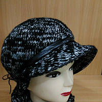Шапка с шарфом Меланж комплект р-р 56-57, черный цвет, фото 1